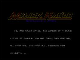 Title screen of Major Havoc on the Arcade.