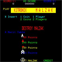 Title screen of Malzak II on the Arcade.