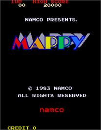 Title screen of Mappy on the Arcade.