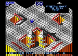 Title screen of Marble Madness on the Arcade.