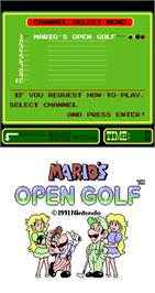 Title screen of Mario's Open Golf on the Arcade.
