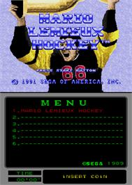 Title screen of Mario Lemieux Hockey on the Arcade.