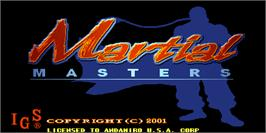 Title screen of Martial Masters on the Arcade.