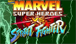 Title screen of Marvel Super Heroes Vs. Street Fighter on the Arcade.
