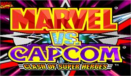 Title screen of Marvel Vs. Capcom: Clash of Super Heroes on the Arcade.
