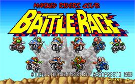 Title screen of Masked Riders Club Battle Race on the Arcade.