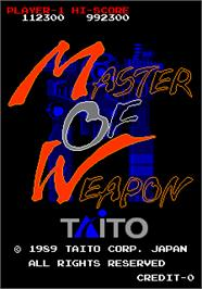 Title screen of Master of Weapon on the Arcade.