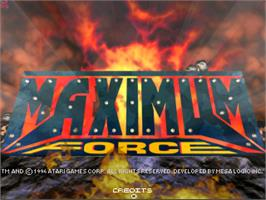 Title screen of Maximum Force v1.02 on the Arcade.