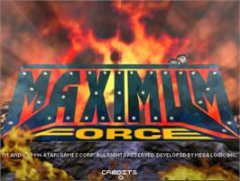 Title screen of Maximum Force v1.05 on the Arcade.