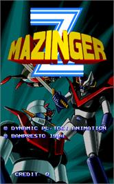 Title screen of Mazinger Z on the Arcade.