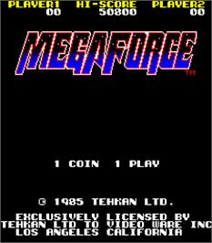 Title screen of Mega Force on the Arcade.