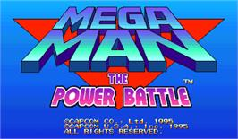 Title screen of Mega Man: The Power Battle on the Arcade.