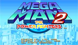 Title screen of Mega Man 2: The Power Fighters on the Arcade.