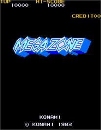 Title screen of Mega Zone on the Arcade.