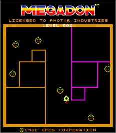 Title screen of Megadon on the Arcade.