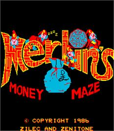 Title screen of Merlins Money Maze on the Arcade.