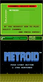 Title screen of Metroid on the Arcade.
