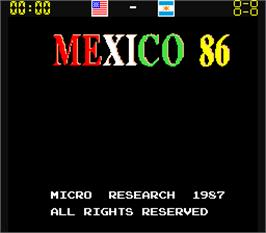 Title screen of Mexico 86 on the Arcade.