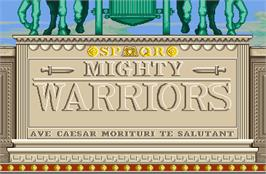 Title screen of Mighty Warriors on the Arcade.