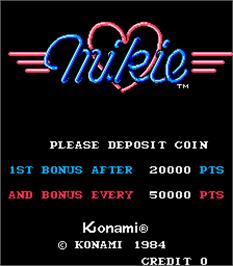 Title screen of Mikie on the Arcade.