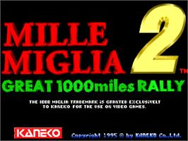 Title screen of Mille Miglia 2: Great 1000 Miles Rally on the Arcade.
