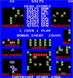 Title screen of Millipede on the Arcade.