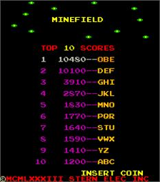 Title screen of Minefield on the Arcade.