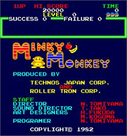Title screen of Minky Monkey on the Arcade.