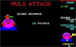 Title screen of Mole Attack on the Arcade.