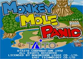 Title screen of Monkey Mole Panic on the Arcade.