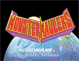Title screen of Monster Maulers on the Arcade.
