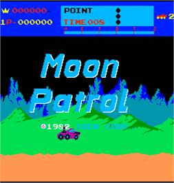Title screen of Moon Patrol on the Arcade.