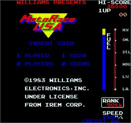 Title screen of MotoRace USA on the Arcade.