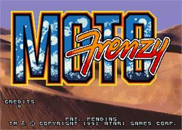 Title screen of Moto Frenzy on the Arcade.