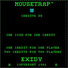 Title screen of Mouse Trap on the Arcade.