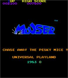 Title screen of Mouser on the Arcade.