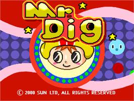 Title screen of Mr. Dig on the Arcade.