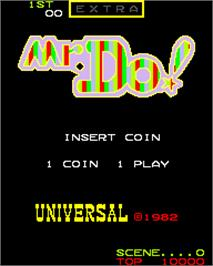 Title screen of Mr. Do! on the Arcade.
