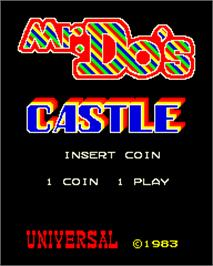 Title screen of Mr. Do's Castle on the Arcade.