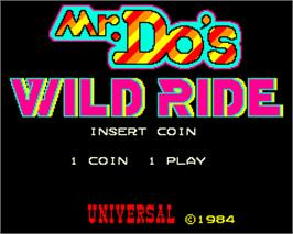 Title screen of Mr. Do's Wild Ride on the Arcade.