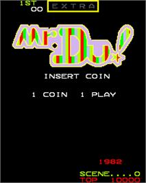 Title screen of Mr. Du! on the Arcade.