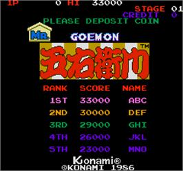 Title screen of Mr. Goemon on the Arcade.