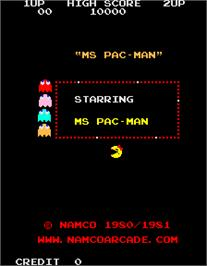 Title screen of Ms. Pac-Man/Galaga - 20th Anniversary Class of 1981 Reunion on the Arcade.