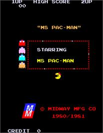 Title screen of Ms. Pac-Man on the Arcade.