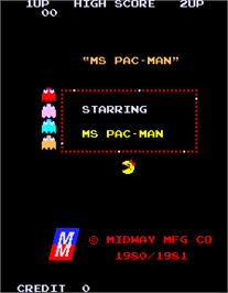 Title screen of Ms. Pac Attack on the Arcade.