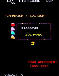 Title screen of Ms. Pacman Champion Edition / Super Zola-Puc Gal on the Arcade.