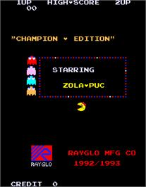 Title screen of Ms. Pacman Champion Edition / Zola-Puc Gal on the Arcade.