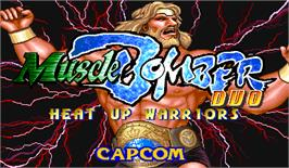 Title screen of Muscle Bomber Duo: Heat Up Warriors on the Arcade.