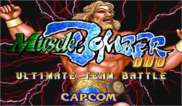 Title screen of Muscle Bomber Duo: Ultimate Team Battle on the Arcade.
