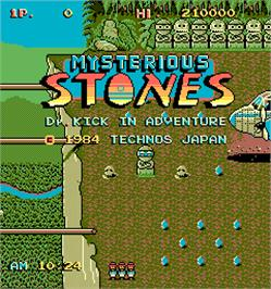 Title screen of Mysterious Stones - Dr. Kick in Adventure on the Arcade.